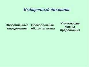 Выборочный диктант Обособленные определенияОбособленные обстоятельстваУточн