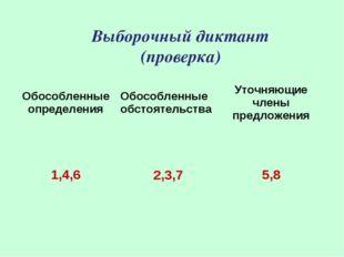 Выборочный диктант (проверка) Обособленные определенияОбособленные обстоятел