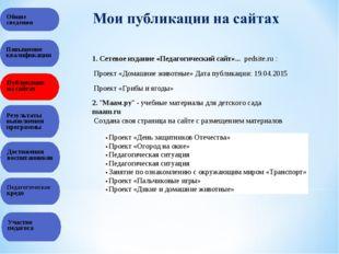 Общие сведения Повышение квалификации Публикация на сайтах Результаты выполне
