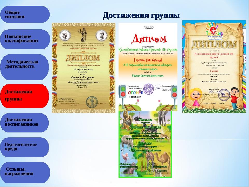 Общие сведения Достижения группы Повышение квалификации Методическая деятельн...