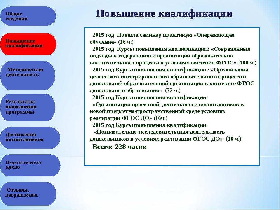 Общие сведения Повышение квалификации Методическая деятельность Педагогическо...
