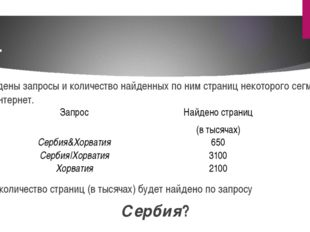 6. Приведены запросы и количество найденных по ним страниц некоторого сегмент