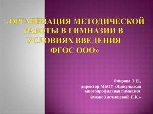 Очирова Э.Н., директор МБОУ «Яшкульская многопрофильная гимназия имени Хаглыш