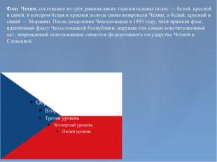 Флаг Чехии, состоявшее из трёх равновеликих горизонтальных полос— белой, кра