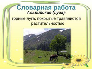 Альпийские (луга)- горные луга, покрытые травянистой растительностью Словарна