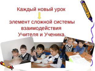 Каждый новый урок элемент сложной системы взаимодействия Учителя и Ученика.