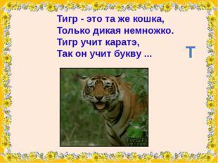 Тигр- это та же кошка, Только дикая немножко. Тигр учит каратэ, Так он учит