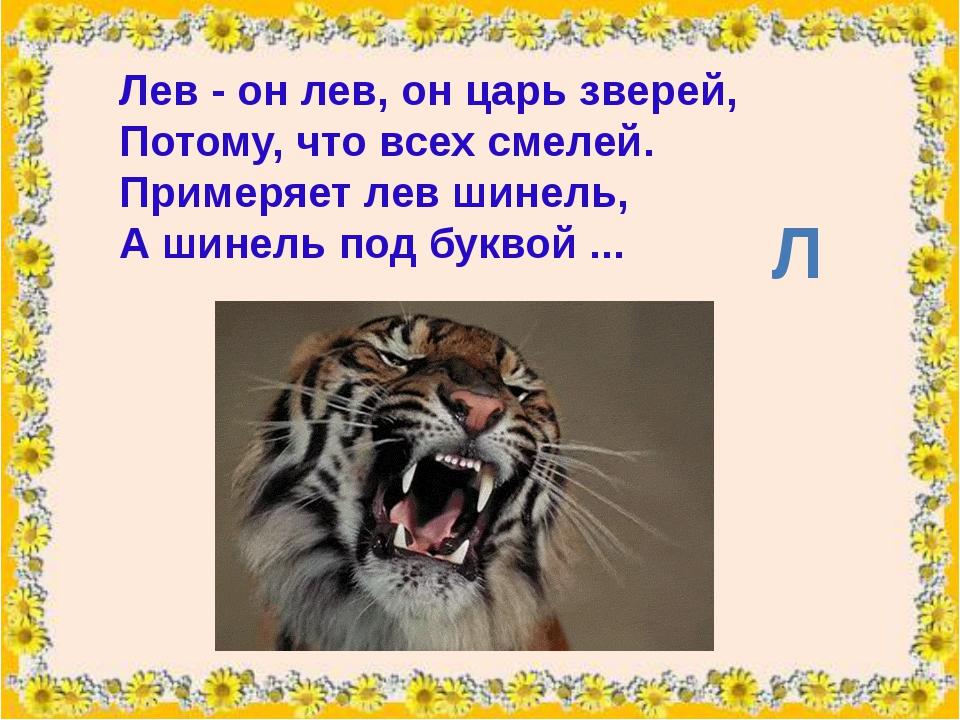 Лев- он лев, он царь зверей, Потому, что всех смелей. Примеряет лев шинель,...