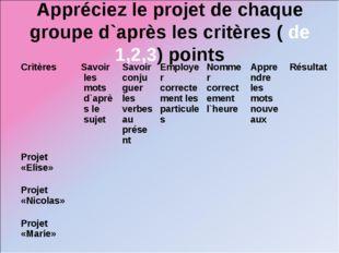 Appréciez le projet de chaque groupe d`après les critères ( de 1,2,3) points
