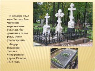 В декабре 1872 года Тютчев был частично парализован: осталась без движения л