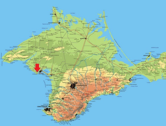 Описание: Топографическая карта Крыма с обозначением основных населенных пунктов