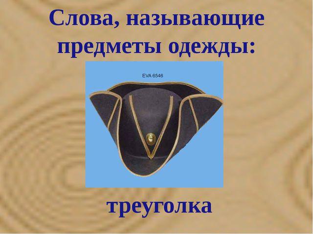 Слова, называющие предметы одежды: треуголка