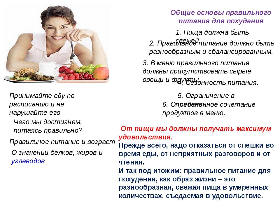 Принципы правильного питания меню для похудения