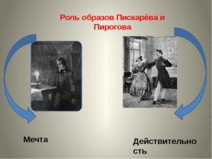 Роль образов Пискарёва и Пирогова Мечта Действительность