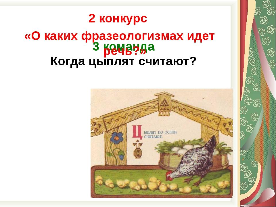 3 команда Когда цыплят считают? 2 конкурс «О каких фразеологизмах идет речь?»