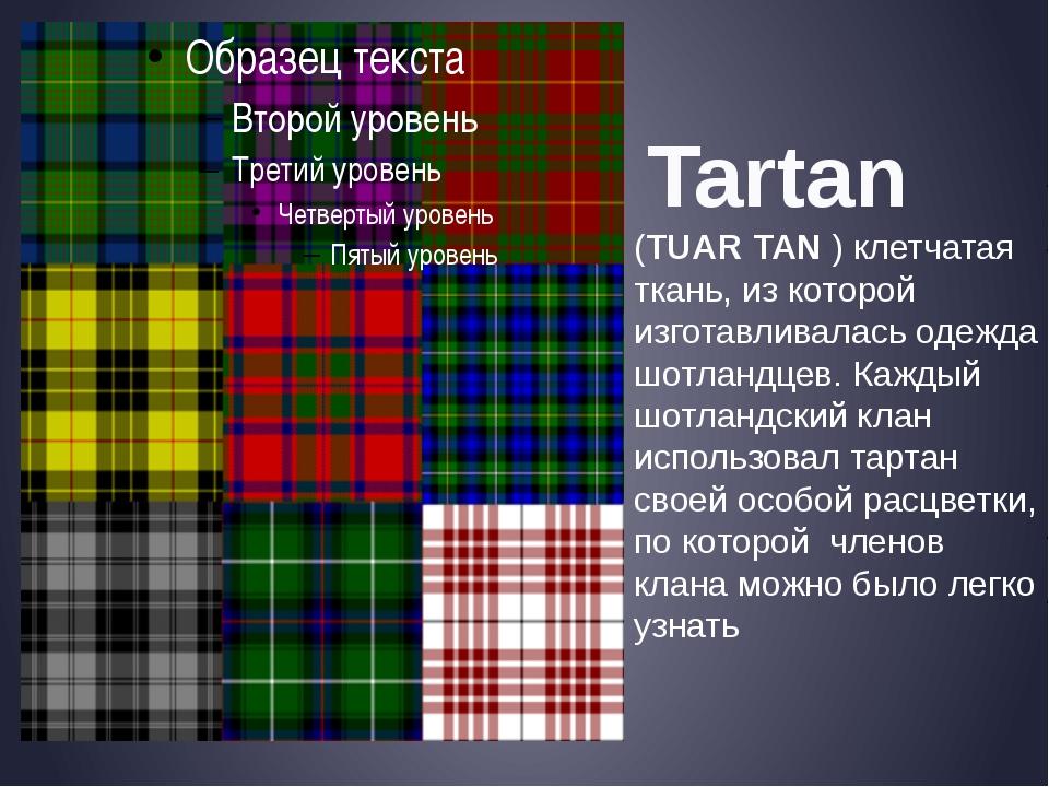 Tartan (TUAR TAN ) клетчатая ткань, из которой изготавливалась одежда шотлан...