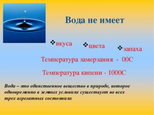 Вода не имеет вкуса цвета запаха Температура замерзания - 00С Температура кип