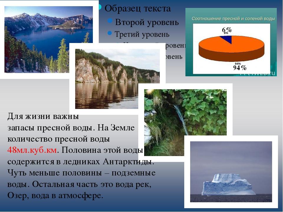 6% 94% Для жизни важны запасы пресной воды. На Земле количество пресной воды...
