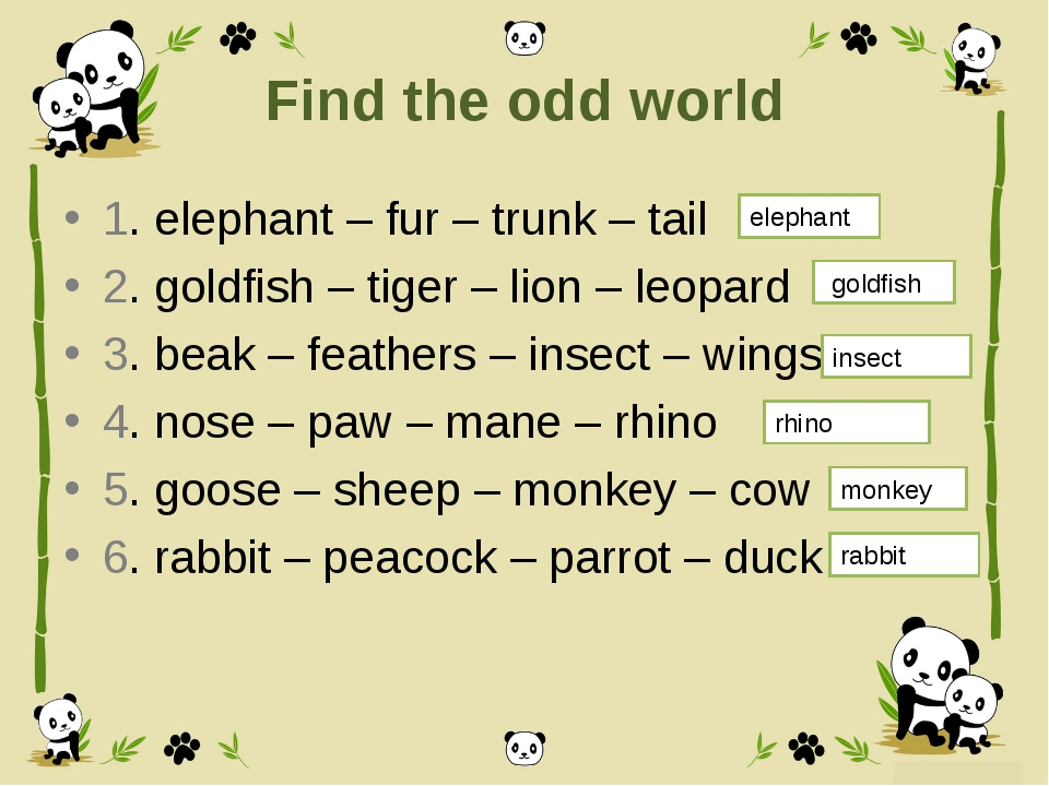 Find the odd world 1. elephant – fur – trunk – tail 2. goldfish – tiger – lio...