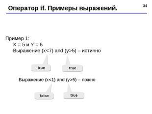* Оператор if. Примеры выражений. Пример 1: X = 5 и Y = 6 Выражение (x5) – ис