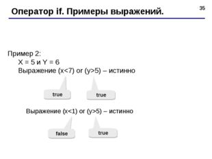 * Оператор if. Примеры выражений. Пример 2: X = 5 и Y = 6 Выражение (x5) – ис