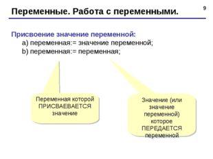 * Переменные. Работа с переменными. Присвоение значение переменной: а) перем