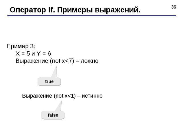 * Оператор if. Примеры выражений. Пример 3: X = 5 и Y = 6 Выражение (not x