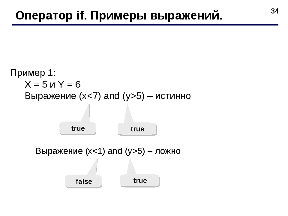 * Оператор if. Примеры выражений. Пример 1: X = 5 и Y = 6 Выражение (x5) – ис...