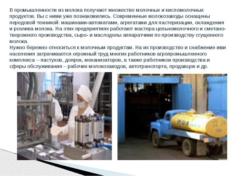 В промышленности из молока получают множество молочных и кисломолочных продук...