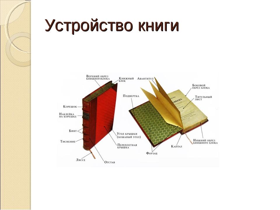 Устройство книги