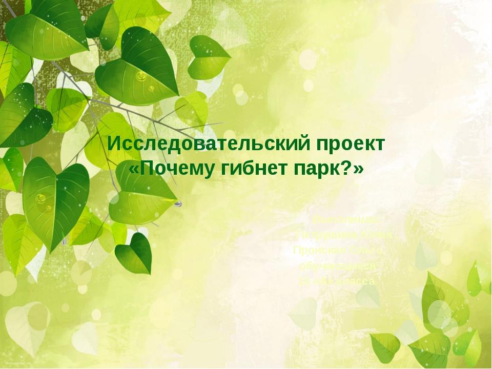 Исследовательский проект «Почему гибнет парк?» Выполнили: Петрушина Юлия , Пр...