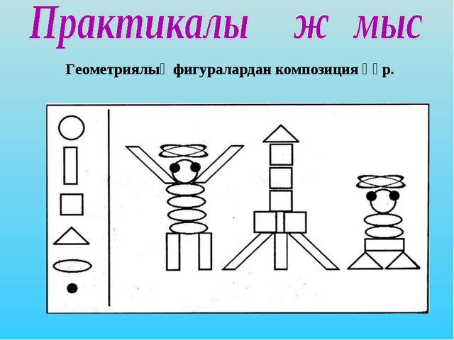 Геометриялық фигуралардан композиция құр.