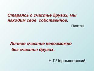 Личное счастье невозможно без счастья других. Н.Г.Чернышевский Стараясь о сч