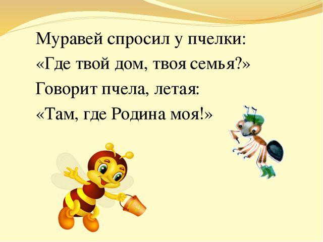 Муравей спросил у пчелки: «Где твой дом, твоя семья?» Говорит пчела, летая: «...