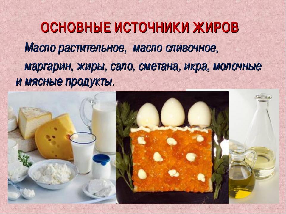 ОСНОВНЫЕ ИСТОЧНИКИ ЖИРОВ Масло растительное, масло сливочное, маргарин, жиры,...