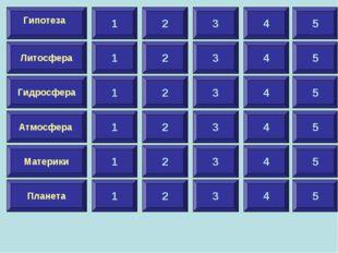 1 Литосфера Гидросфера Атмосфера Материки Планета Гипотеза 2 3 4 5 1 2 3 4 5