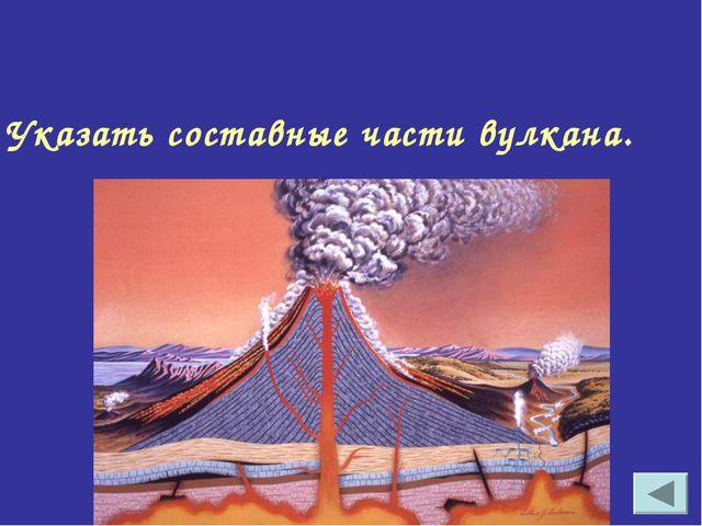 Указать составные части вулкана.