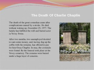 The Death Of Charlie Chaplin The death of the great comedian came after comp