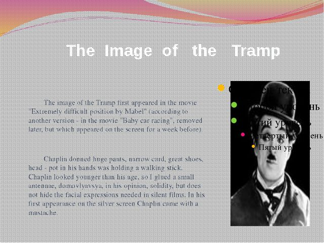 "The Image of the Tramp The image of the Tramp first appeared in the movie ""E..."