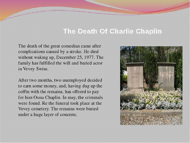 The Death Of Charlie Chaplin The death of the great comedian came after comp...