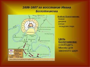 Цель Болотникова: освободить Москву для законного царя 1606-1607 гг восстание