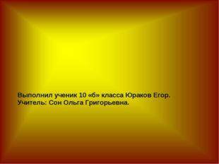 Выполнил ученик 10 «б» класса Юраков Егор. Учитель: Сон Ольга Григорьевна.