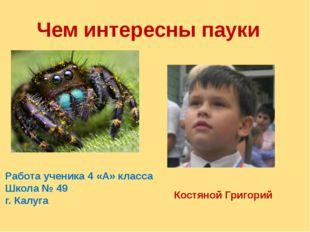 Чем интересны пауки Работа ученика 4 «А» класса Школа № 49 г. Калуга Костяной