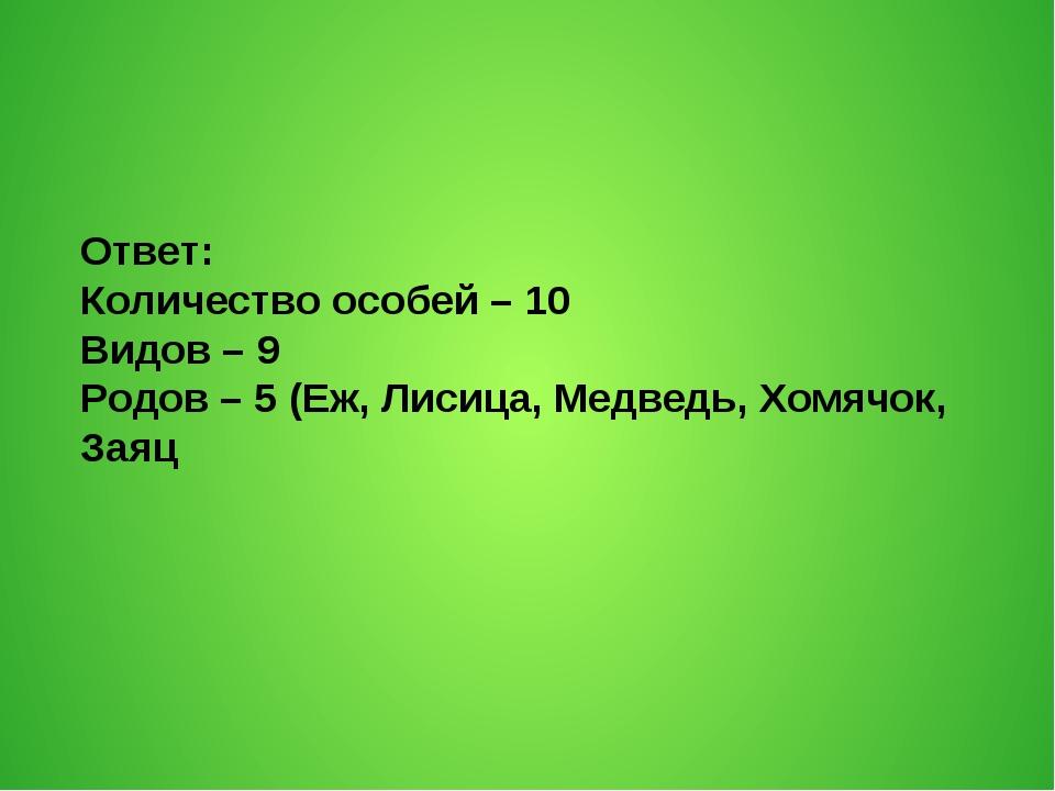 Ответ: Количество особей – 10 Видов – 9 Родов – 5 (Еж, Лисица, Медведь, Хомяч...