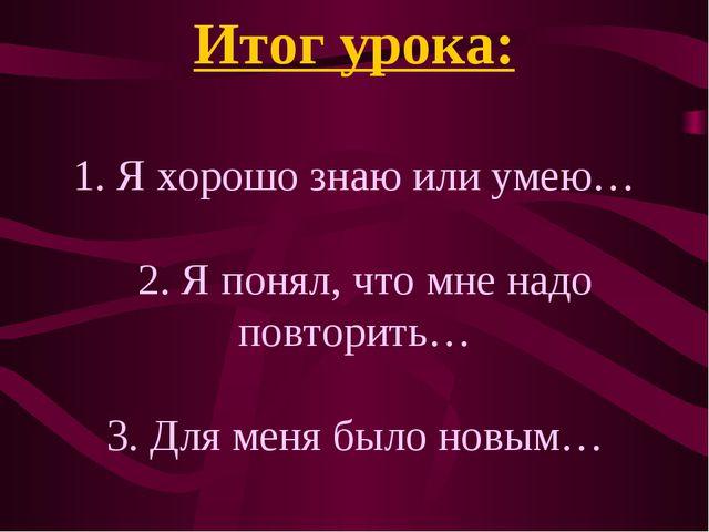 Итог урока: 1. Я хорошо знаю или умею… 2. Я понял, что мне надо повторить… 3....