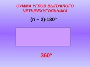СУММА УГЛОВ ВЫПУКЛОГО ЧЕТЫРЕХУГОЛЬНИКА (n – 2)·180º 360º