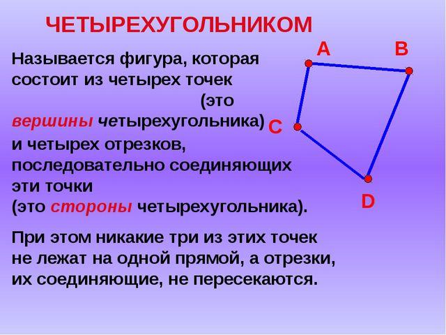 ЧЕТЫРЕХУГОЛЬНИКОМ Называется фигура, которая состоит из четырех точек (это ве...