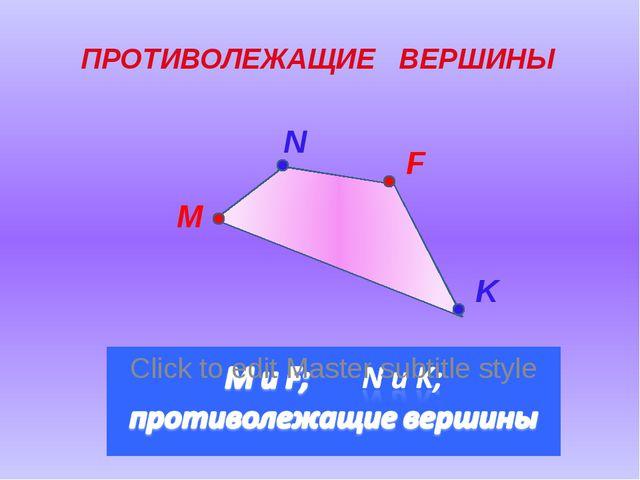 M N F K ПРОТИВОЛЕЖАЩИЕ ВЕРШИНЫ
