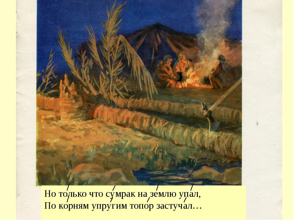 Но только что сумрак на землю упал, По корням упругим топор застучал…