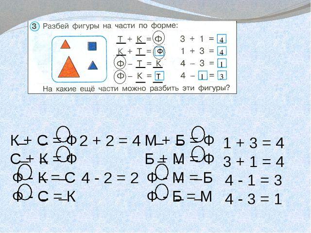 4 4 1 1 3 2 + 2 = 4 4 - 2 = 2 1 + 3 = 4 3 + 1 = 4 4 - 1 = 3 4 - 3 = 1 Ф Т К...